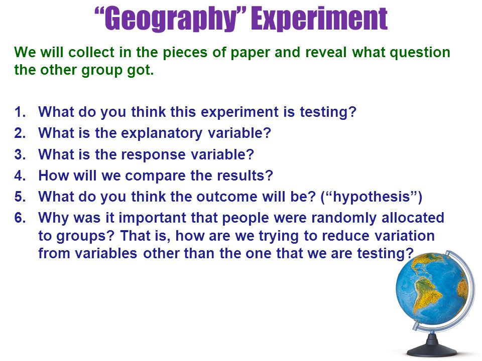 Geography Experiment