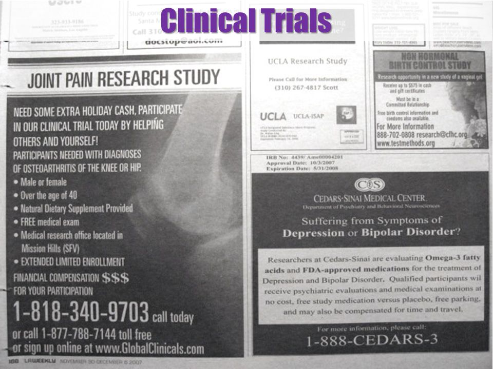 Clinical Trials Examples of research candidates wanted ads.