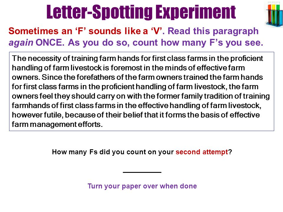 Letter-Spotting Experiment