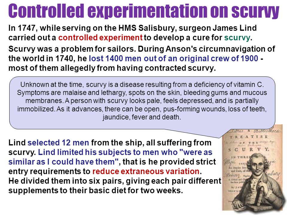 Controlled experimentation on scurvy