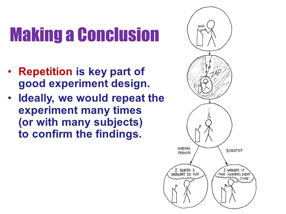 Making a Conclusion Repetition is key part of good experiment design.