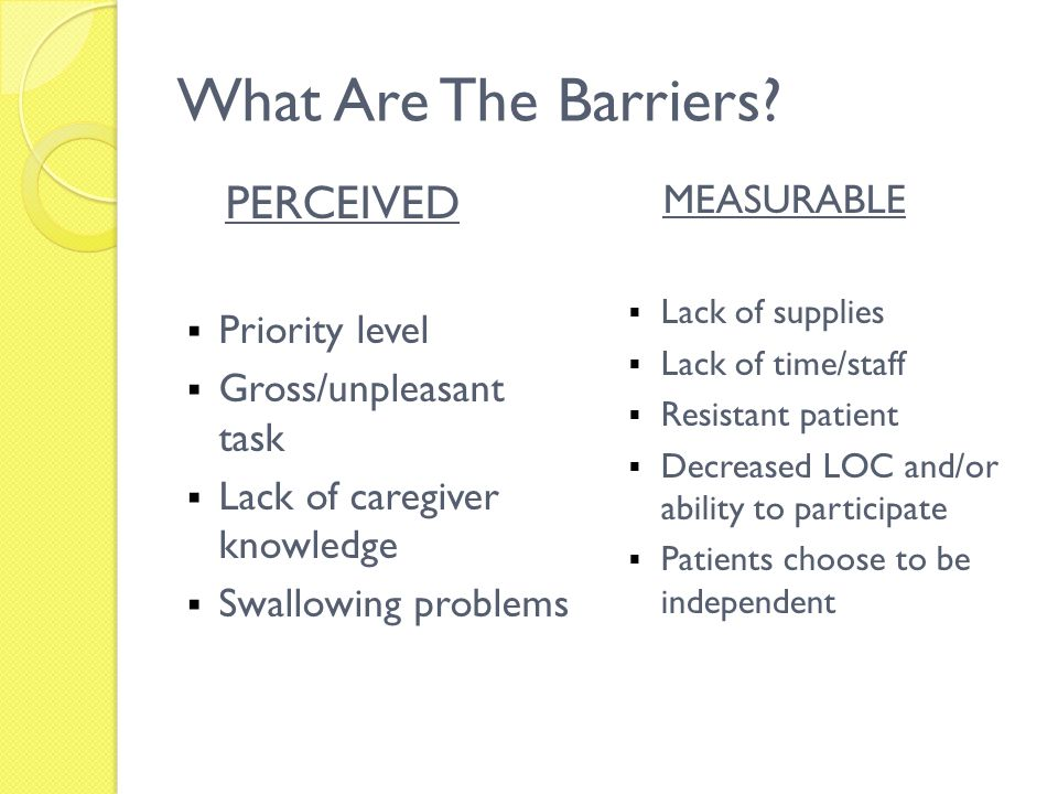 What Are The Barriers PERCEIVED MEASURABLE Priority level