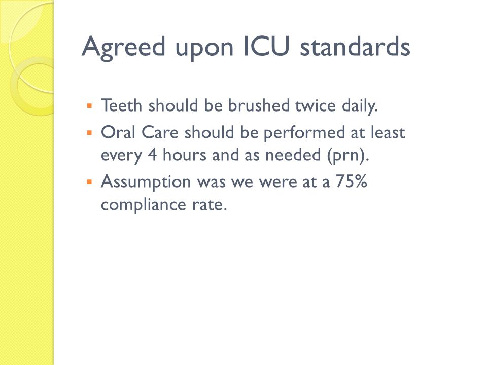 Agreed upon ICU standards