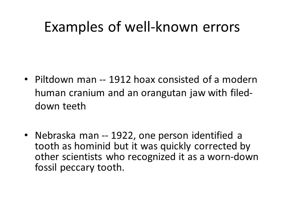 Examples of well-known errors