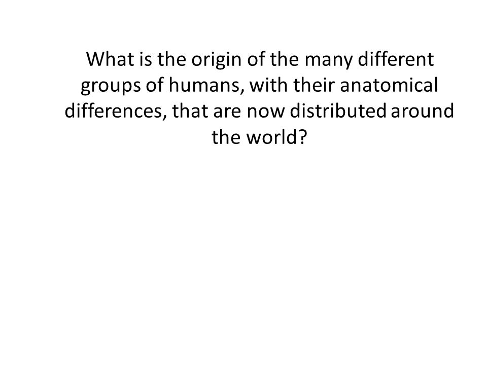 What is the origin of the many different groups of humans, with their anatomical differences, that are now distributed around the world