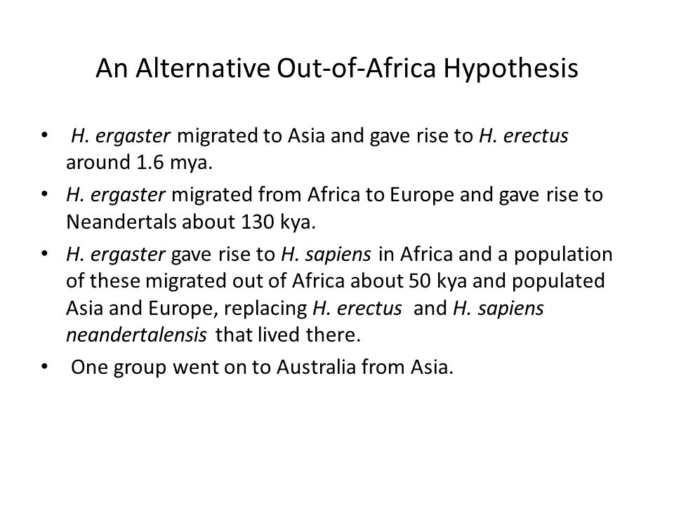 An Alternative Out-of-Africa Hypothesis