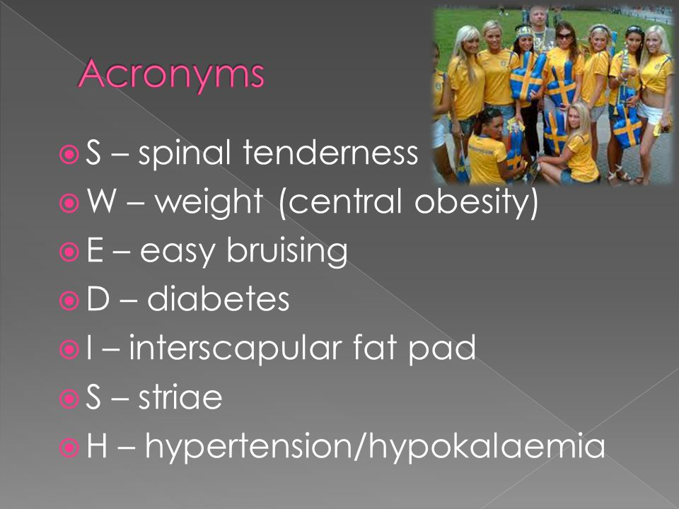 Acronyms S – spinal tenderness W – weight (central obesity)