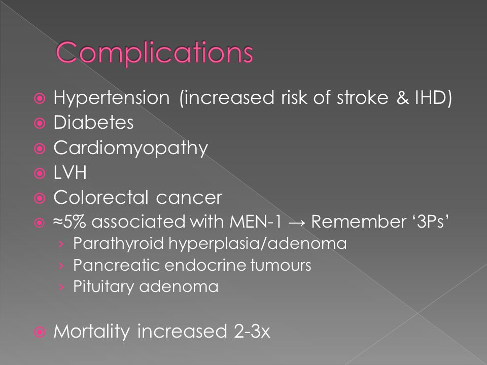 Complications Hypertension (increased risk of stroke & IHD) Diabetes
