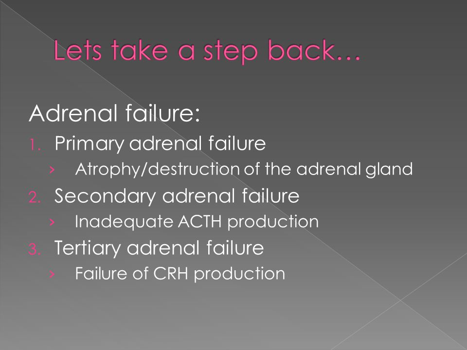 Lets take a step back… Adrenal failure: Primary adrenal failure