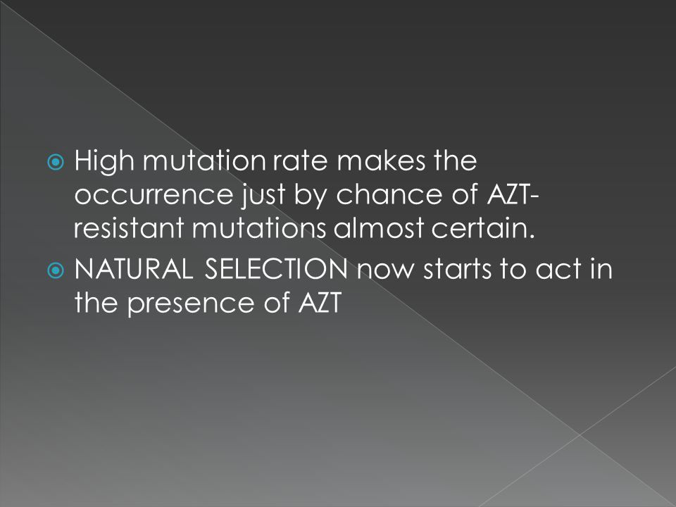 High mutation rate makes the occurrence just by chance of AZT-resistant mutations almost certain.