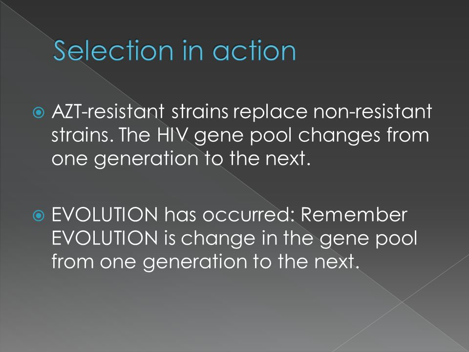Selection in action AZT-resistant strains replace non-resistant strains. The HIV gene pool changes from one generation to the next.