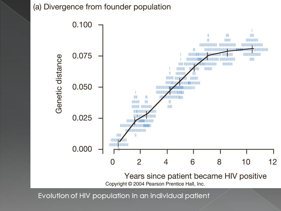 Evolution of HIV population in an individual patient