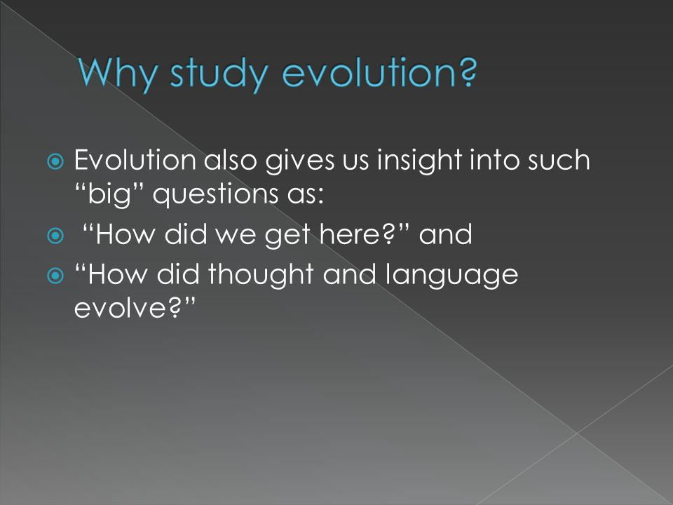 Why study evolution Evolution also gives us insight into such big questions as: How did we get here and.