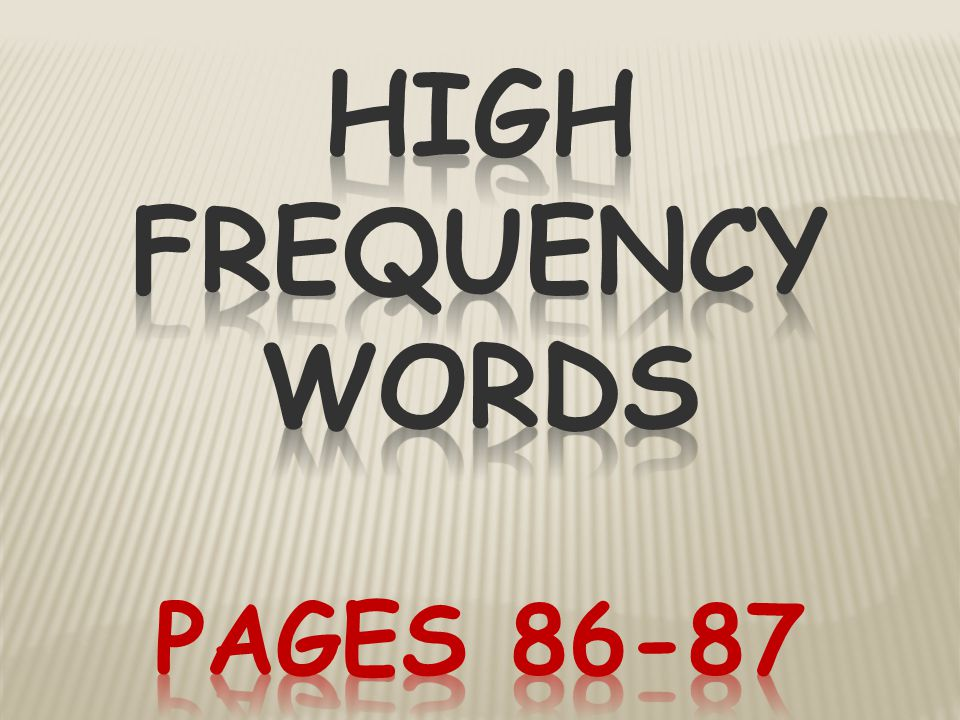 High Frequency Words Pages 86-87