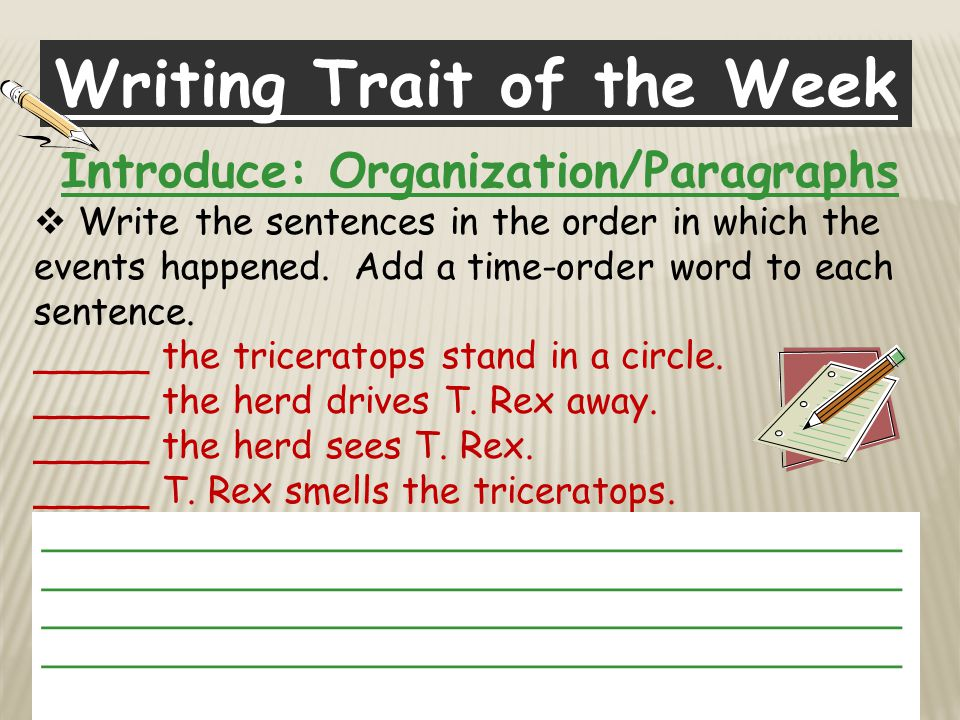 Writing Trait of the Week Introduce: Organization/Paragraphs