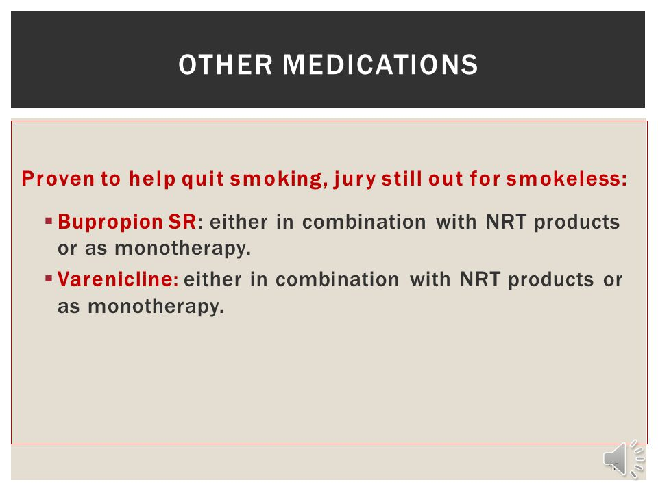 Other medications Proven to help quit smoking, jury still out for smokeless: