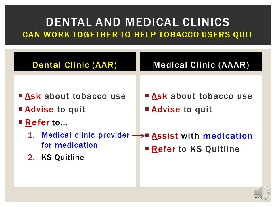 Dental and medical clinics Can work together to help tobacco users quit