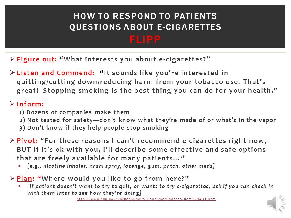 How to respond to patients questions about e-cigarettes FliPP