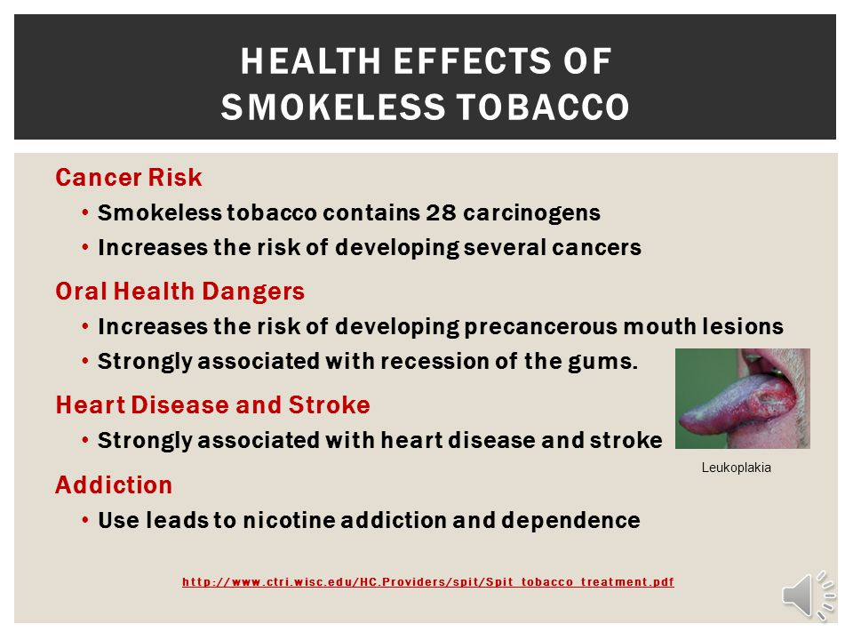 HEALTH EFFECTS OF Smokeless tobacco