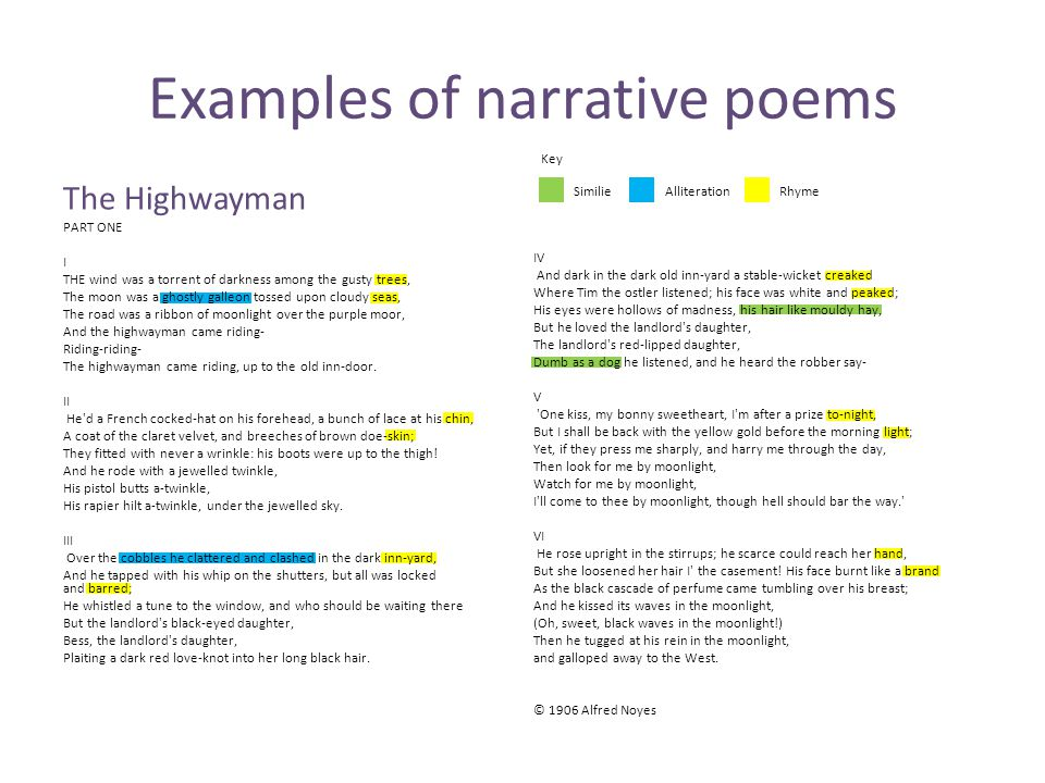 Examples of narrative poems