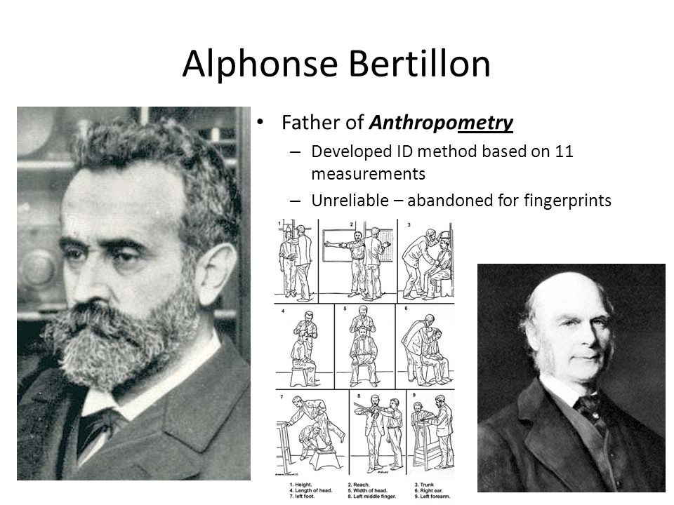 Alphonse Bertillon Father of Anthropometry