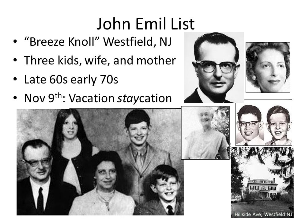 John Emil List Breeze Knoll Westfield, NJ