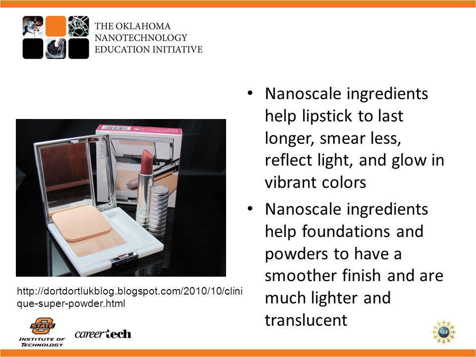 Nanoscale ingredients help lipstick to last longer, smear less, reflect light, and glow in vibrant colors
