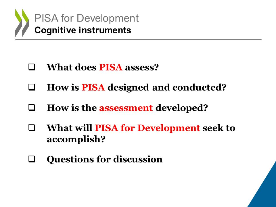 PISA for Development Cognitive instruments