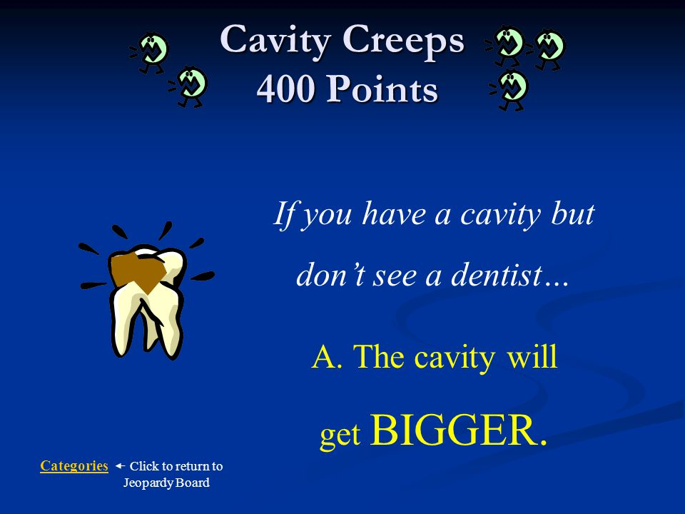 Cavity Creeps 400 Points If you have a cavity but don't see a dentist…