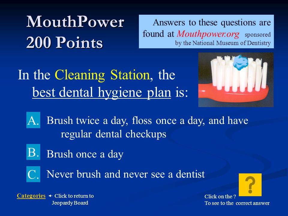 MouthPower 200 Points Answers to these questions are found at Mouthpower.org sponsored by the National Museum of Dentistry.