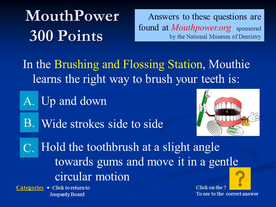 MouthPower 300 Points Answers to these questions are found at Mouthpower.org sponsored by the National Museum of Dentistry.