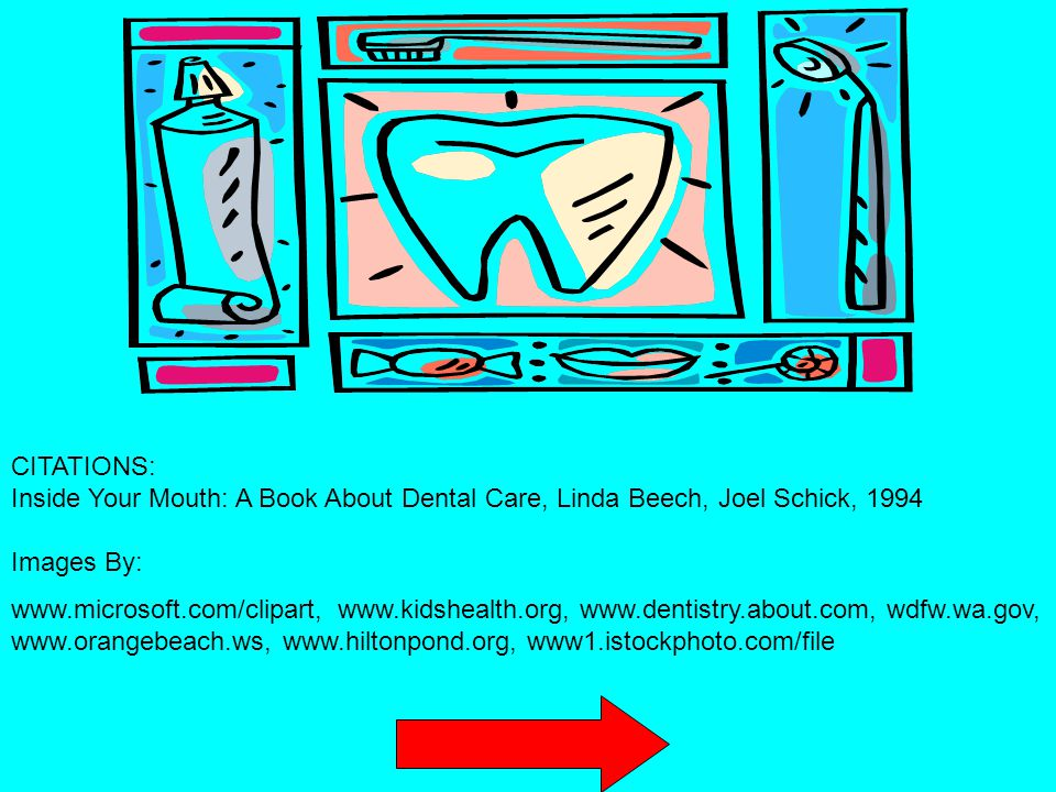 CITATIONS: Inside Your Mouth: A Book About Dental Care, Linda Beech, Joel Schick, 1994 Images By: