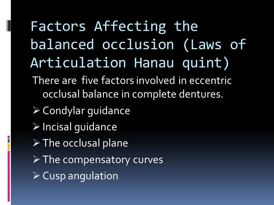 Factors Affecting the balanced occlusion (Laws of Articulation Hanau quint)