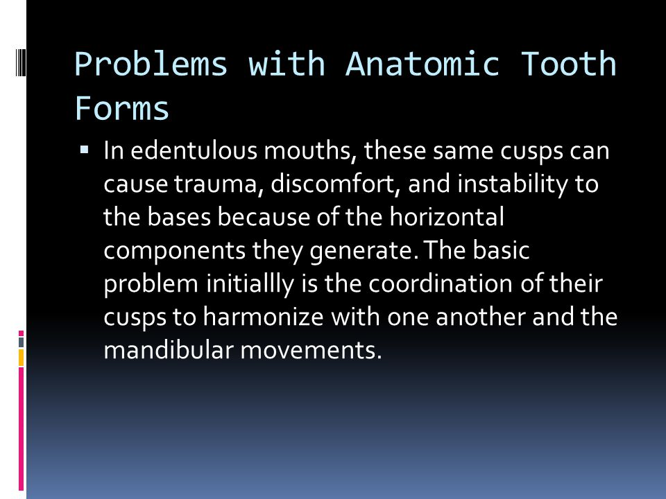 Problems with Anatomic Tooth Forms