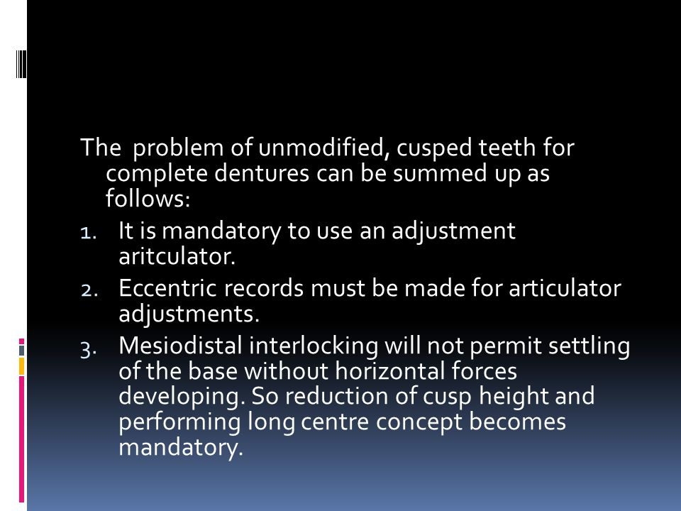 The problem of unmodified, cusped teeth for complete dentures can be summed up as follows: