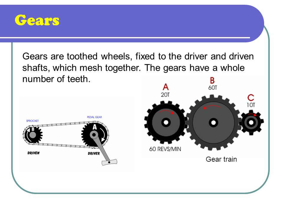 Gears Gears are toothed wheels, fixed to the driver and driven shafts, which mesh together. The gears have a whole number of teeth.