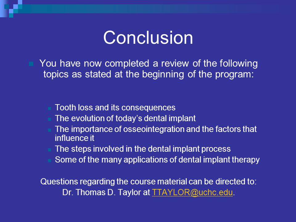 Conclusion You have now completed a review of the following topics as stated at the beginning of the program:
