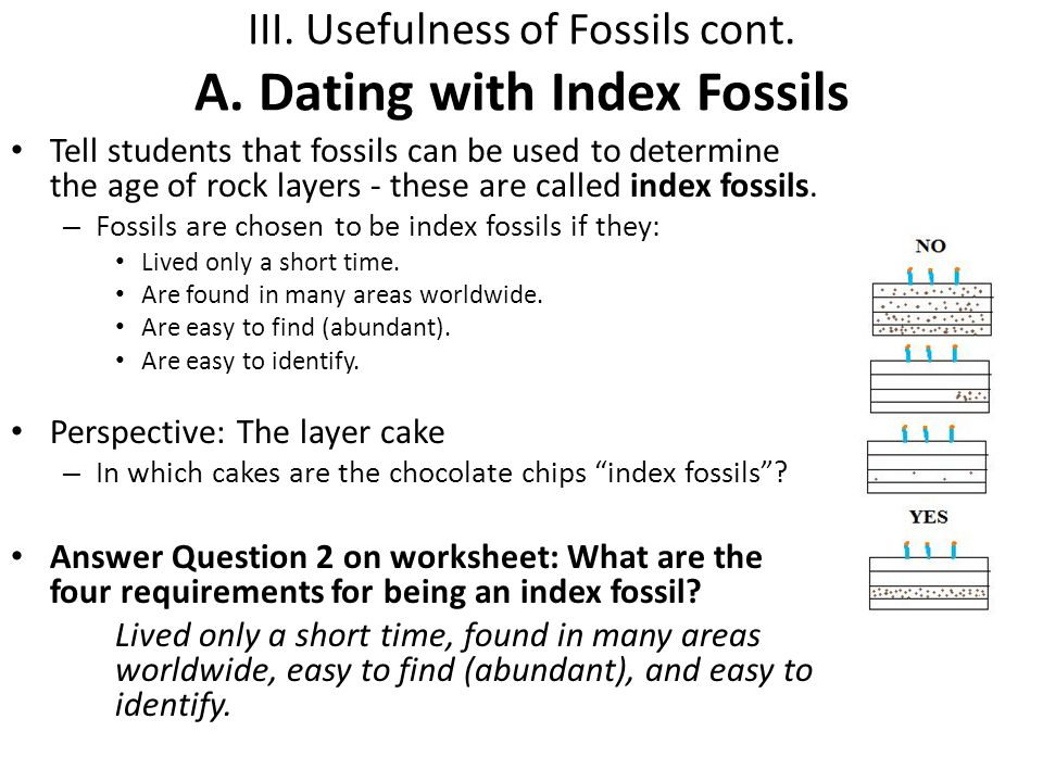 III. Usefulness of Fossils cont. A. Dating with Index Fossils