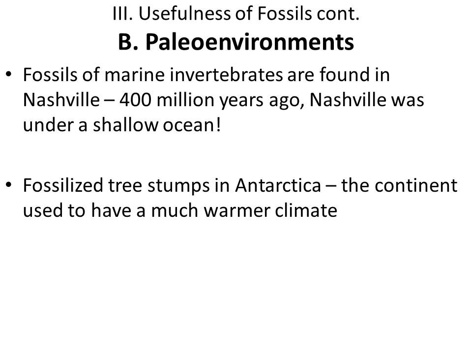 III. Usefulness of Fossils cont. B. Paleoenvironments