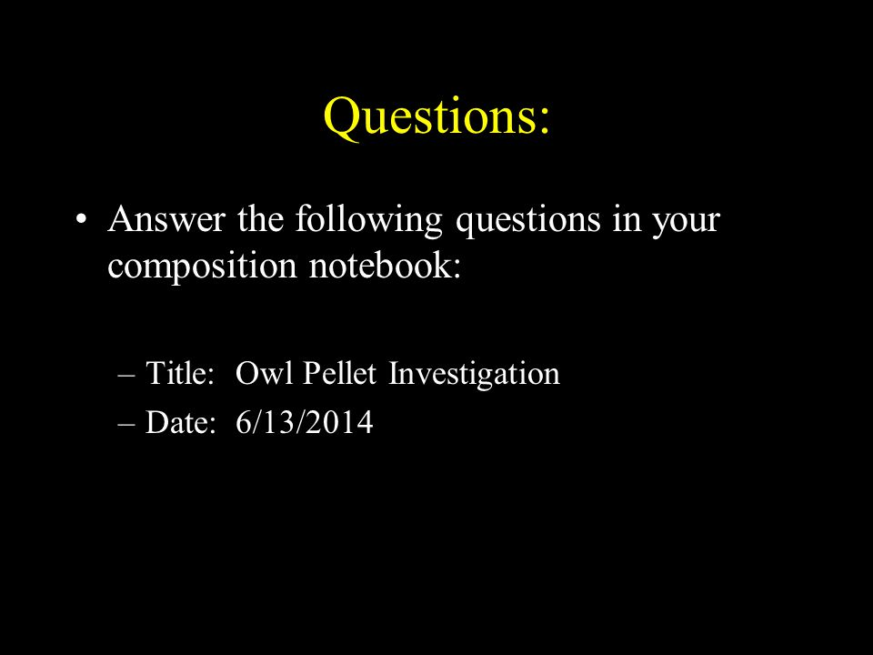 Questions: Answer the following questions in your composition notebook: Title: Owl Pellet Investigation.