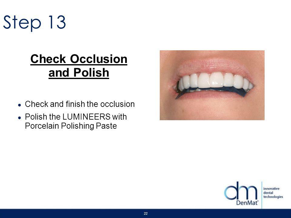 Check Occlusion and Polish