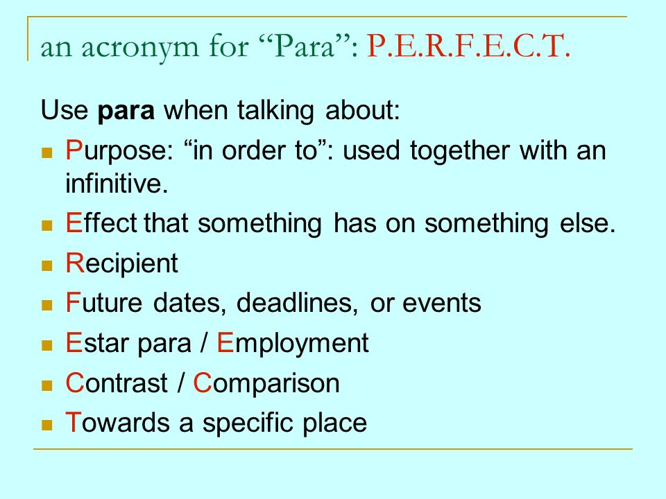 an acronym for Para : P.E.R.F.E.C.T.