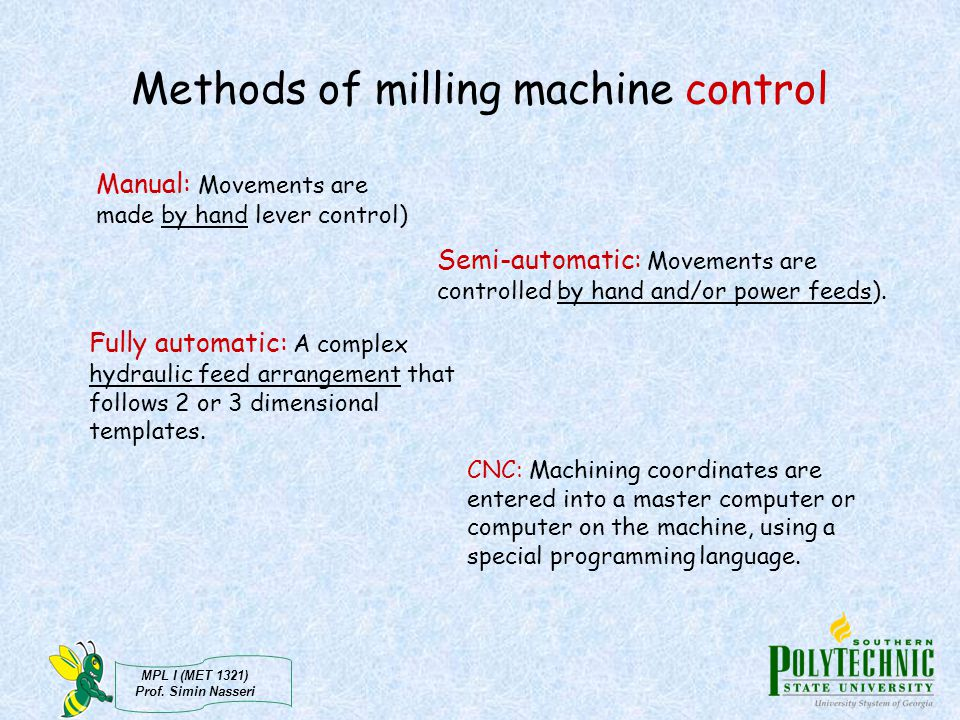 Methods of milling machine control