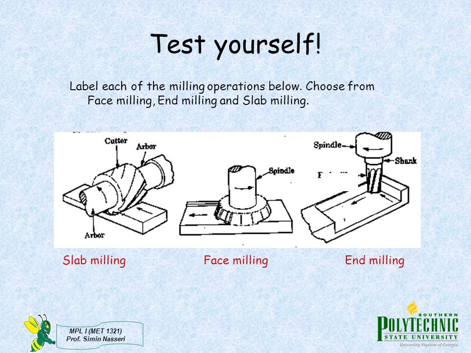 Test yourself! Label each of the milling operations below. Choose from Face milling, End milling and Slab milling.