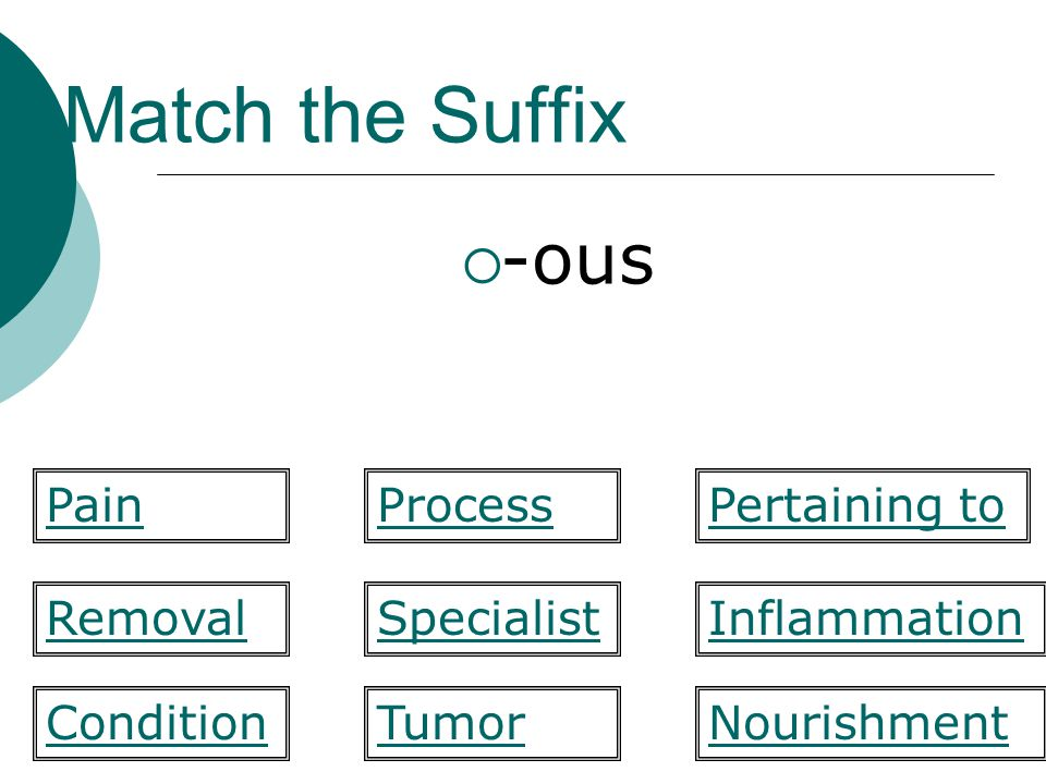 Match the Suffix -ous Pain Process Pertaining to Removal Specialist