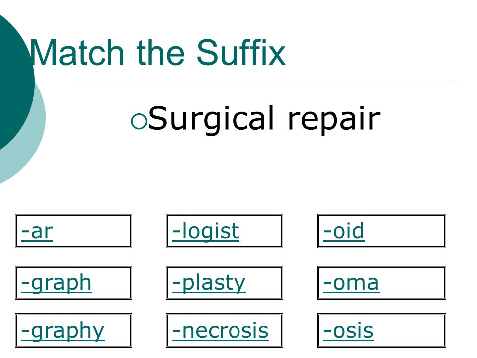 Match the Suffix Surgical repair -ar -logist -oid -graph -plasty -oma