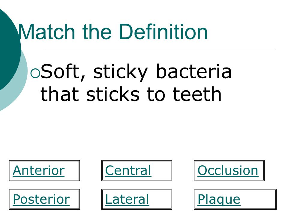 Match the Definition Soft, sticky bacteria that sticks to teeth