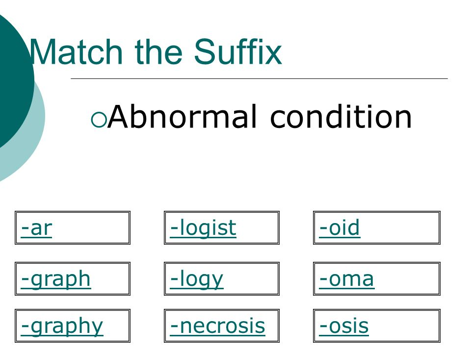 Match the Suffix Abnormal condition -ar -logist -oid -graph -logy -oma