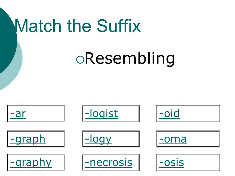 Match the Suffix Resembling -ar -logist -oid -graph -logy -oma -graphy