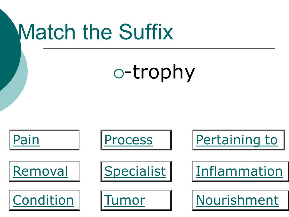 Match the Suffix -trophy Pain Process Pertaining to Removal Specialist